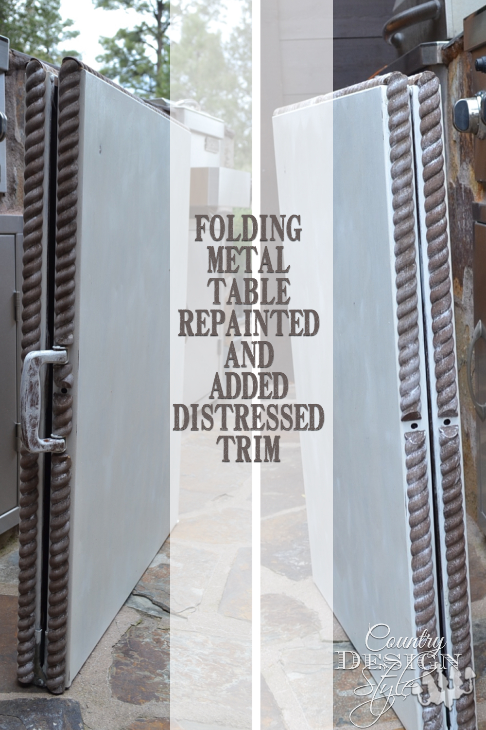 Folding metal table repainted and distressed trim added! Country Design Style