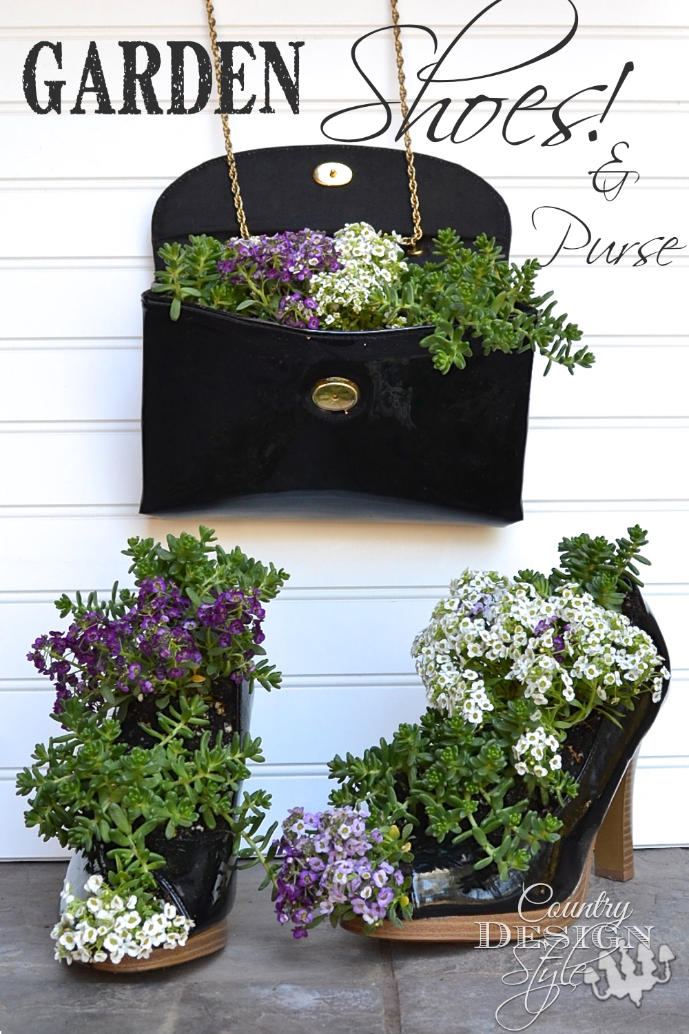 Garden high heel shoes and purse!  Planted and ready to grow.  Country Design Style