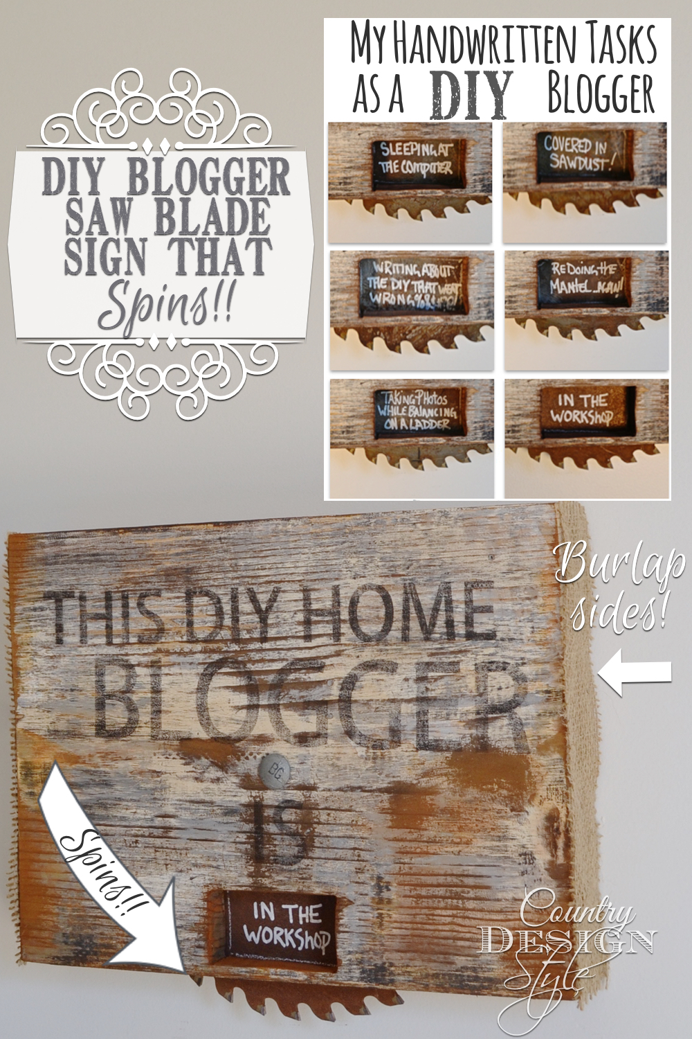 DIY blogger sign made from scrap wood and rusty junky saw blade. Plus is spins! Revealing tasks in the window. Burlap covers the edges. Country Design Style