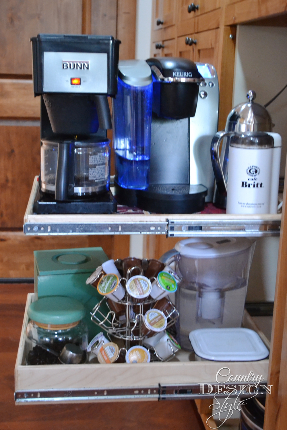 Coffee station in a cabinet. Everything slides in and cabinet door close when the coffee shakes start!!! :) Country Design Style