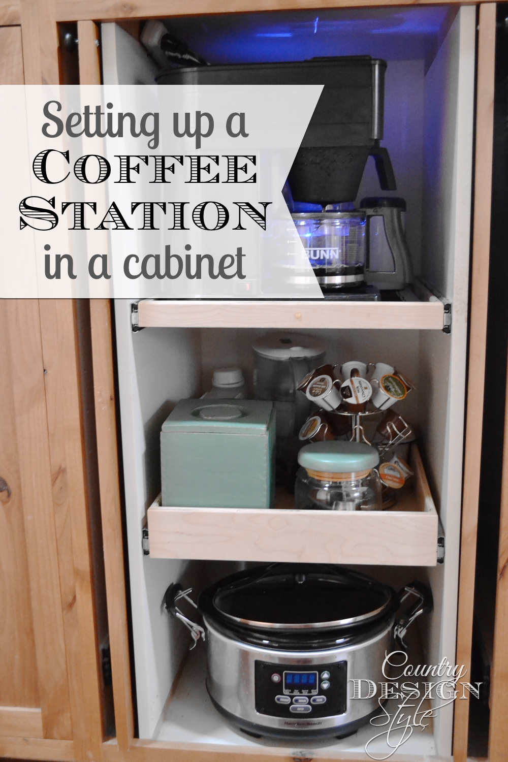 Setting up a coffee station in a cabinet. Slide the door closed when you've have enough coffee! Tutorial on website. Country Design Style