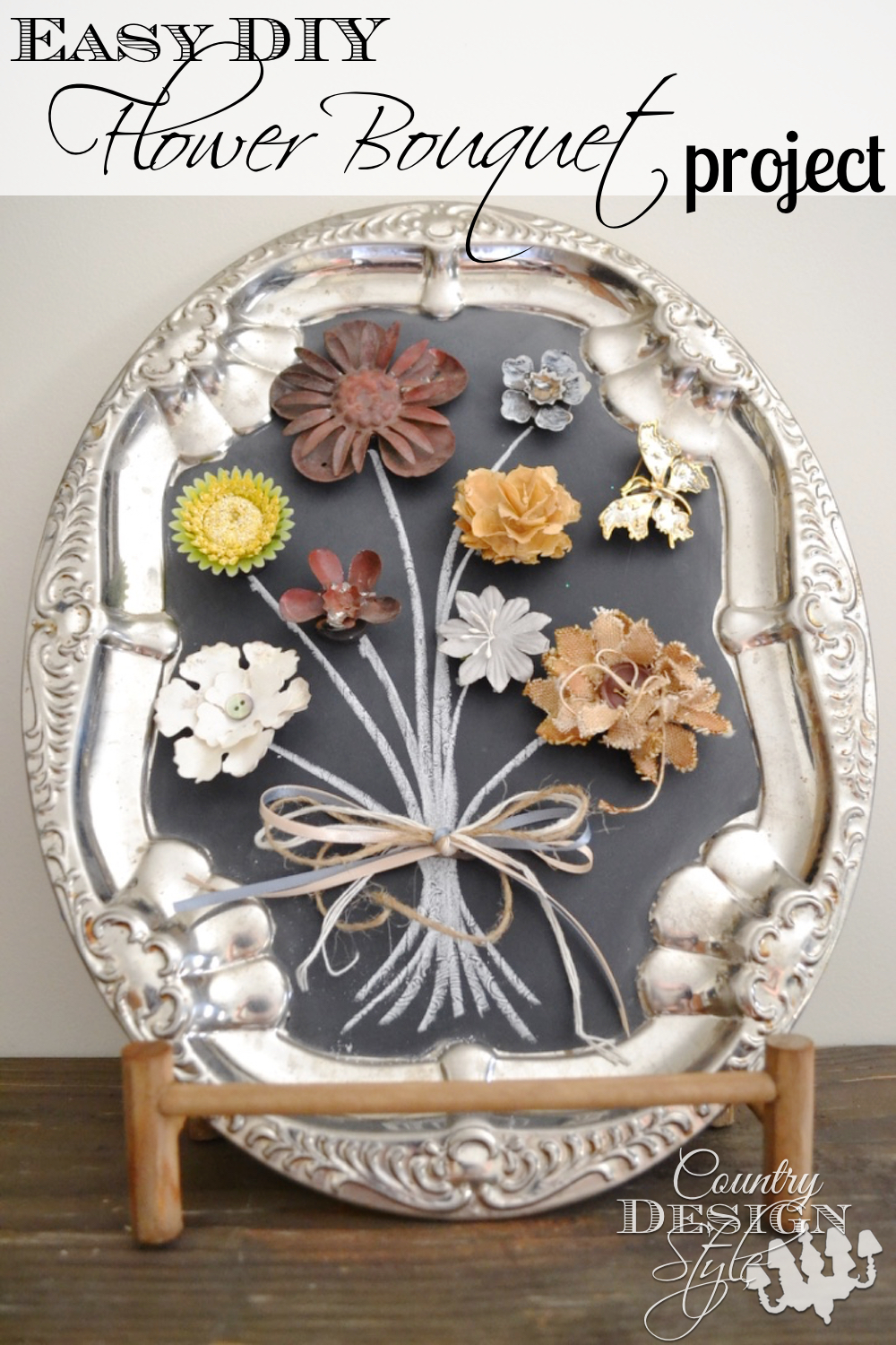 Easy DIY Flower Bouquet Project using magnets on metal tray painted with chalkboard paint. Just draw the stems! Country Design Style