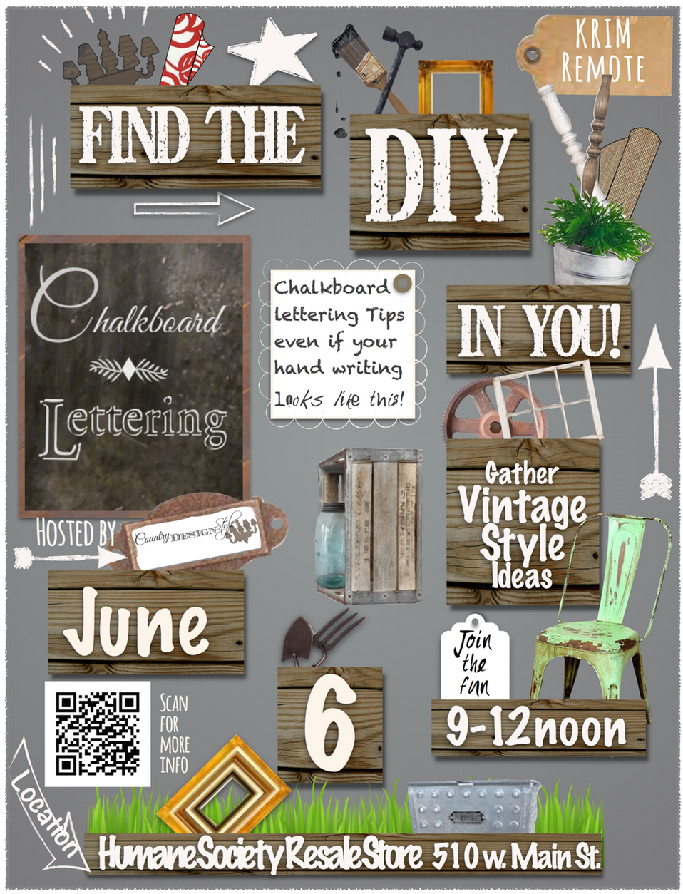 My local DIY event where we learned tips and trick for chalkboard lettering and ideas for thrift decorating and finds.  Country Design Style