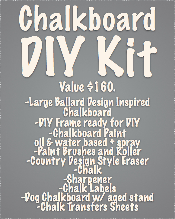 The raffle prizes sign for your DIY event. A chalkboard DIY Kit. How cool is that?? Country Design Style