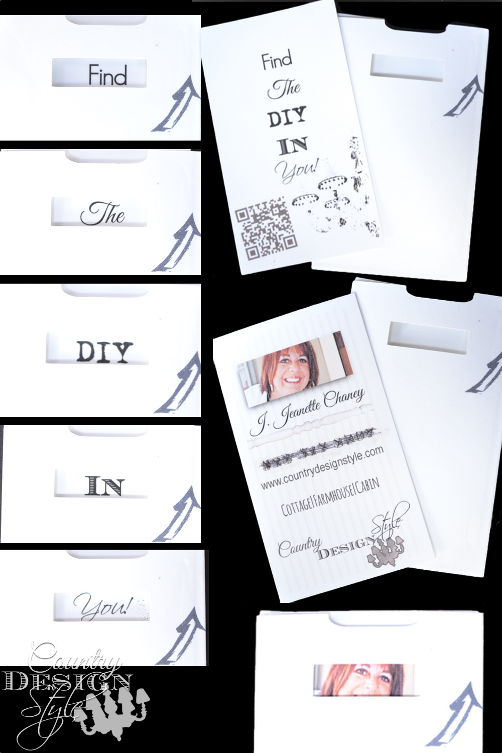 Peek-a-boo-sliding-business-cards.  Needed something creative for an event.  These worked perfect.  Country Design Style