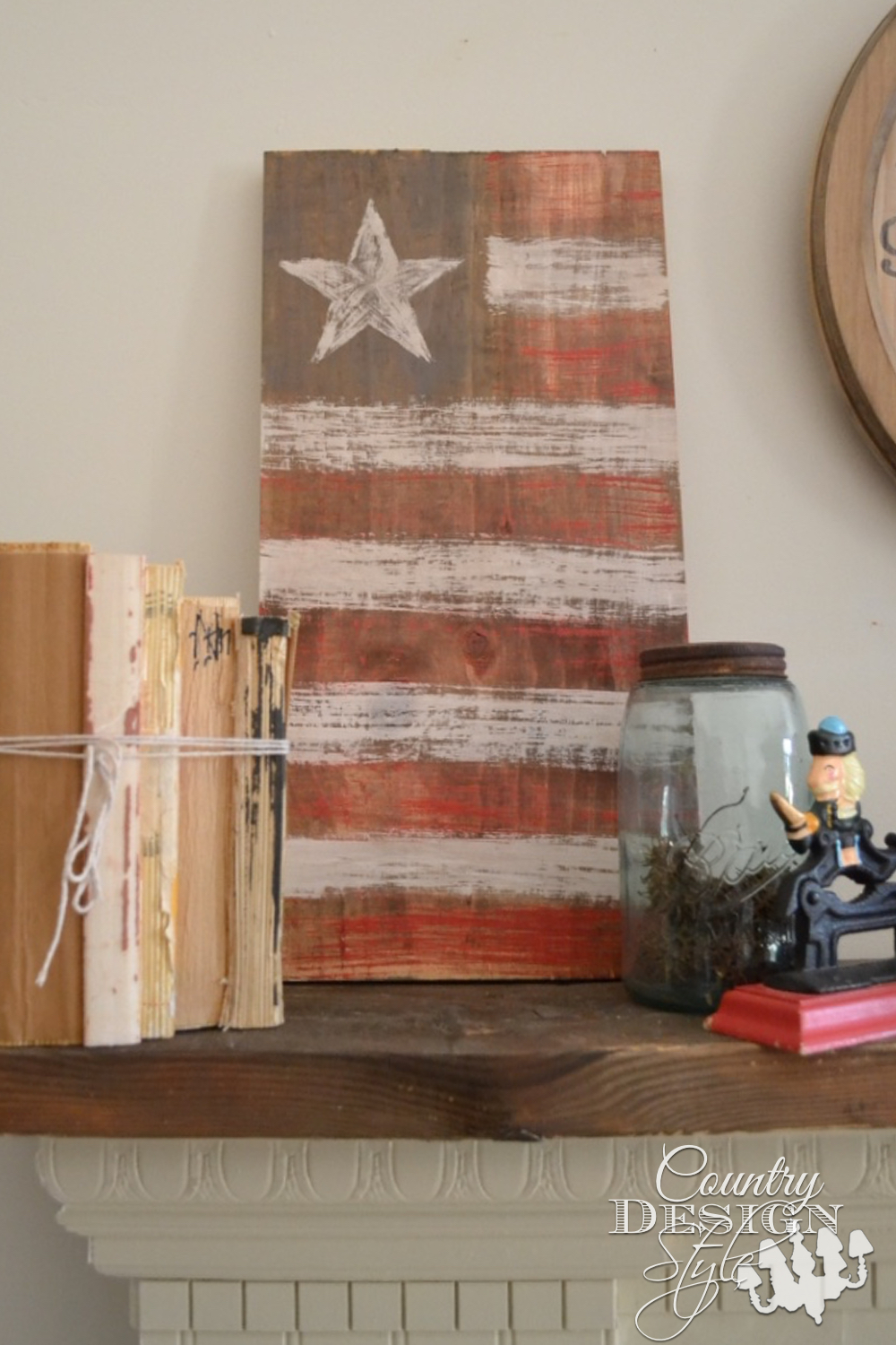 Almost a whole wood American flag.  When you don't have time to cut the board.  Country Design Style