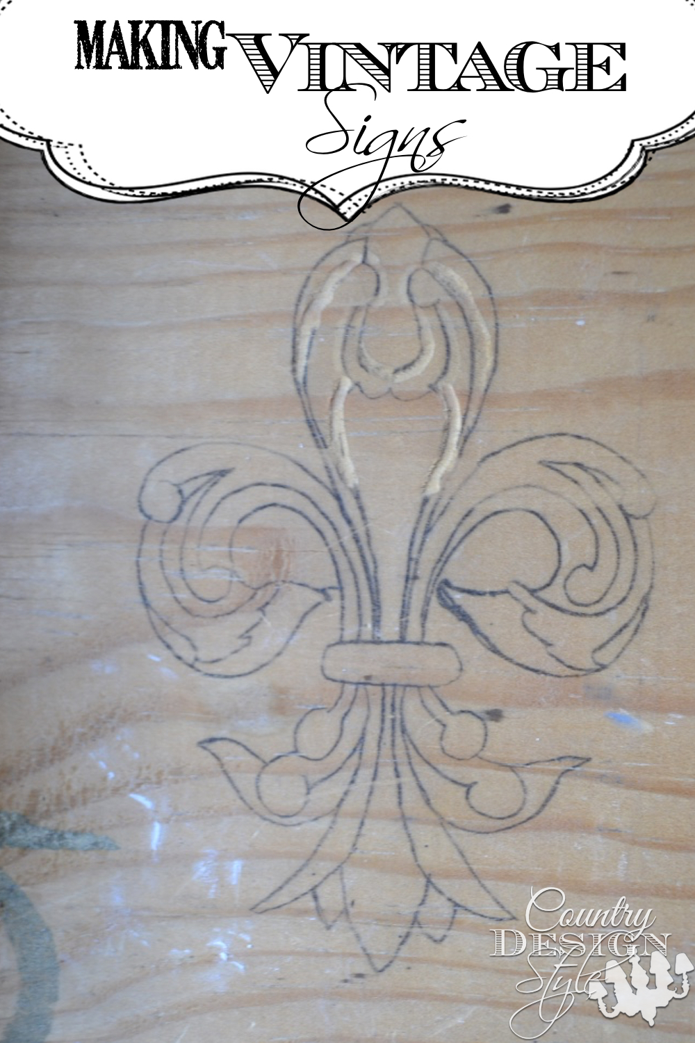 Fleur de lis drawn years ago on a piece of wood. Now I finally drew it on the computer. Click to read more. Country Design Style