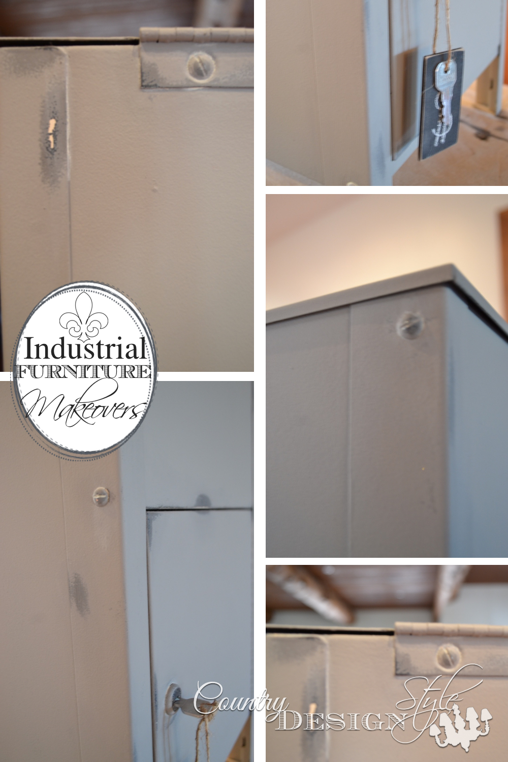 Industrial farmhouse style furniture makeover. Updating an ugly file cabinet with chalky type paint and DIY spindle handle and feet. Country Design Style