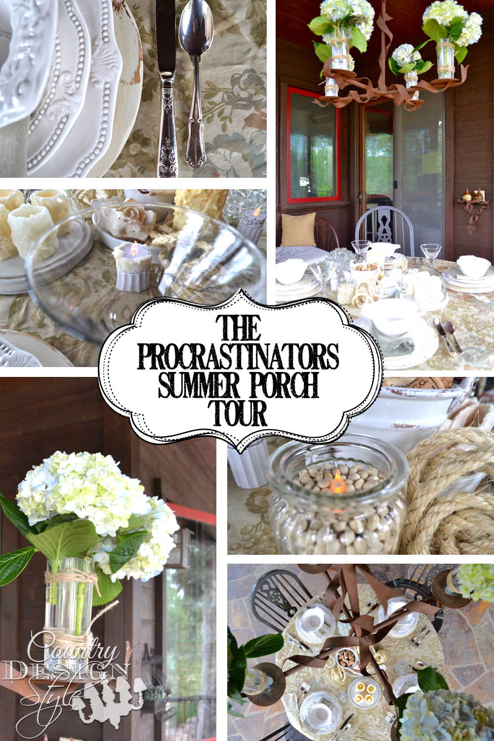 Porch Pictures of a procrastinators summer porch and tour of others summer porches. Pictures of summer outdoor entertaining. Outdoor chandelier ideas.  Picnic table and lighting tips and DIY projects.