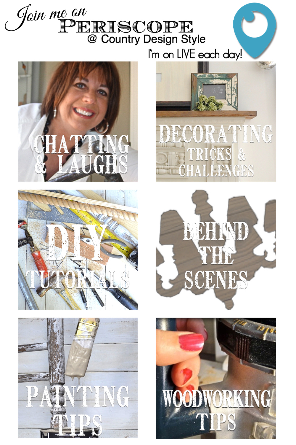 Periscope Live chats. Come join the fun and creativity live daily. Country Design Style