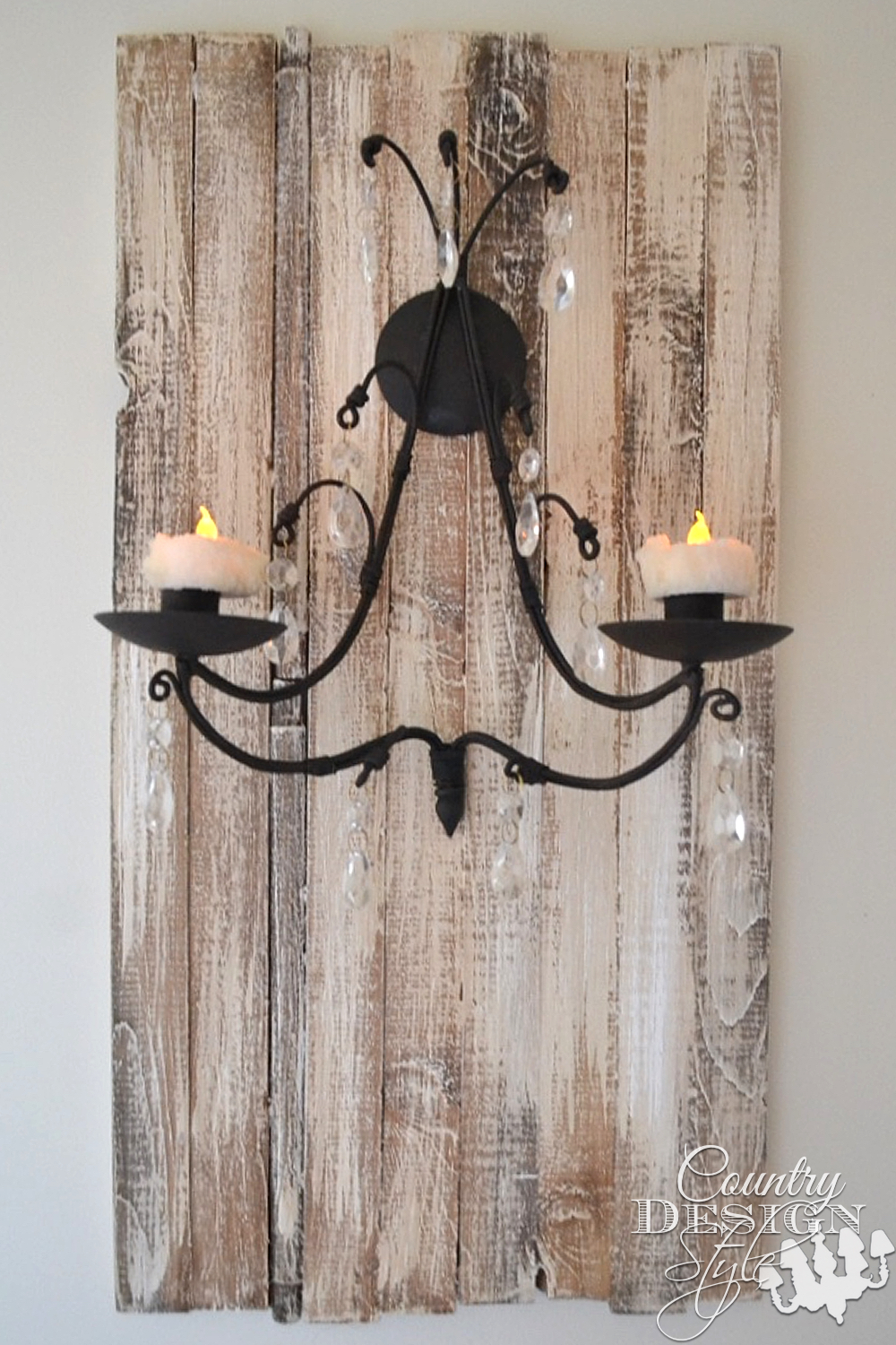 Rustic planked DIY aged boards and candle sconce. Easy project. Country Design Style