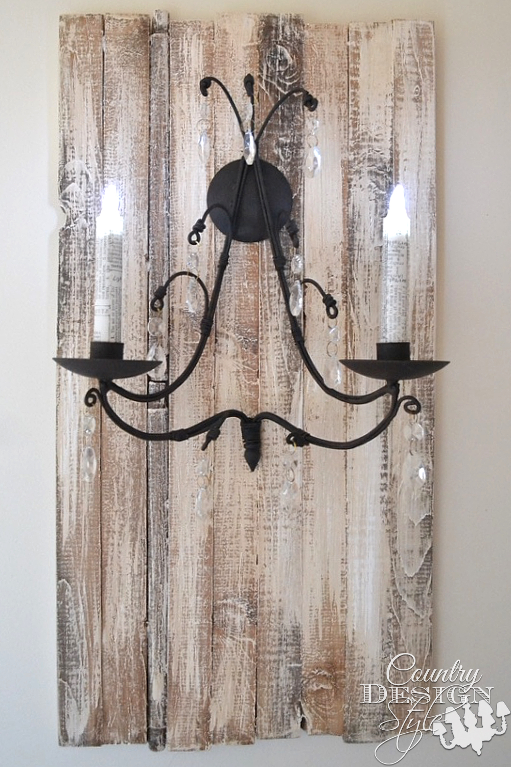 Aged wood planks made into rustic plaque for candle sconce. Country Design Style