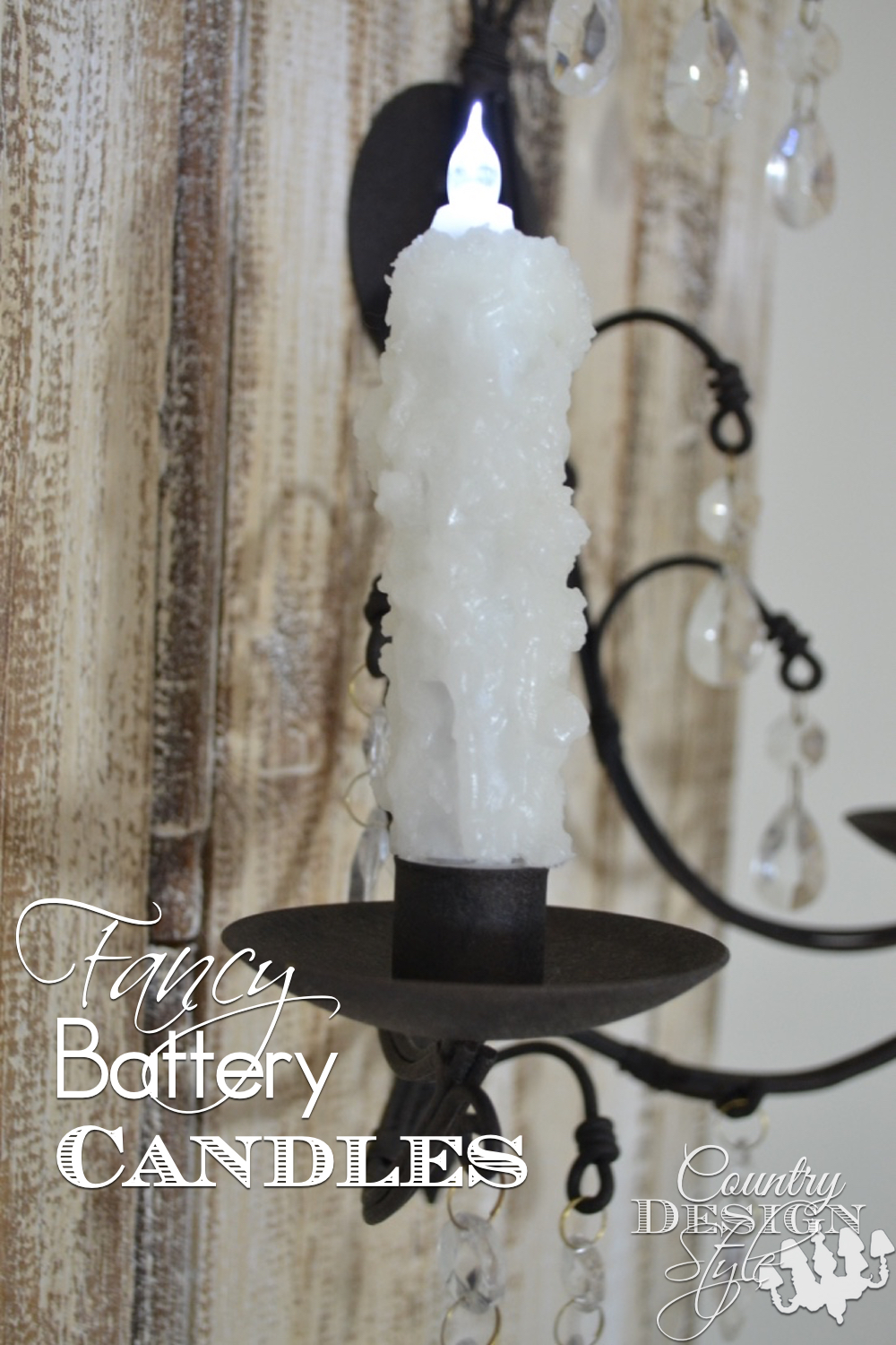 "How to make inexpensive battery candles ""fancy!"" I add melted wax to battery candles for an elegant look. Great DIY decor for farmhouse, cottage or cabin style. Fun for parties, events, and celebrations Country Design Style www.countrydesignstyle.com"