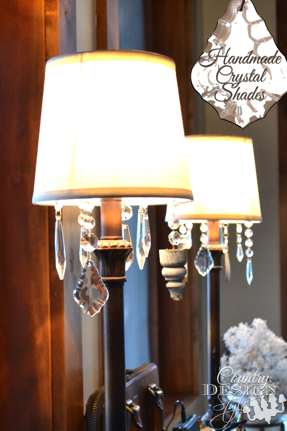 Easy trick to add hanging crystals to basic inexpensive lamp shades. Country Design Style