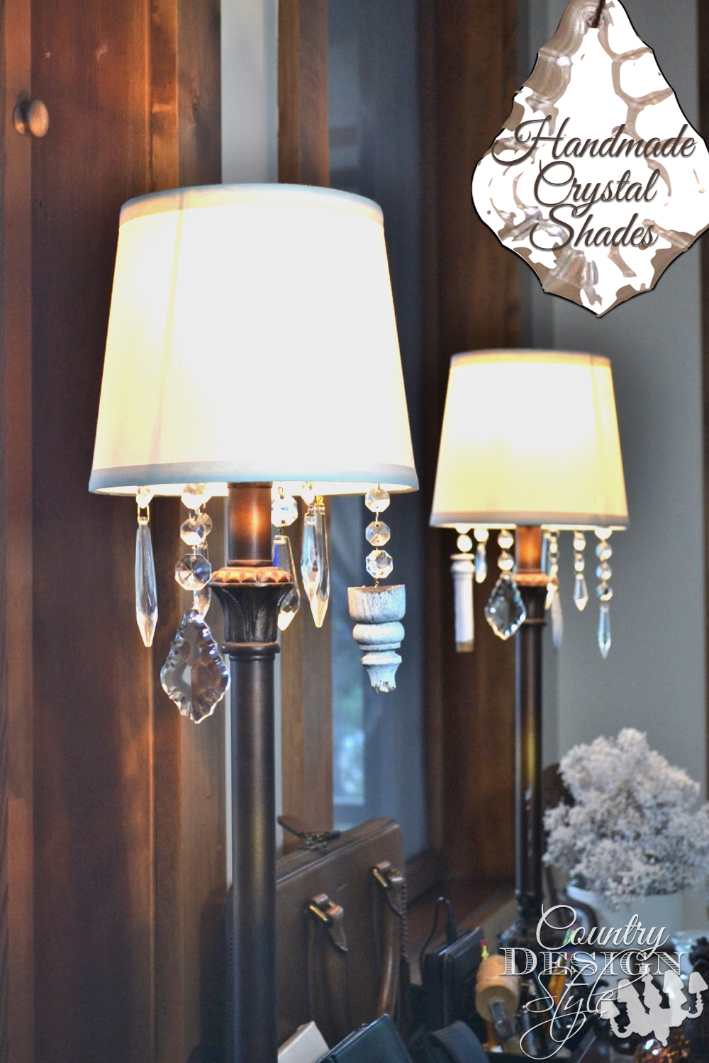 Want to dress up inexpensive lamp shades? A collection of crystals dress up basic lamp shades. It took several tries to get it to work, but an easy idea worked best. Country Design Style
