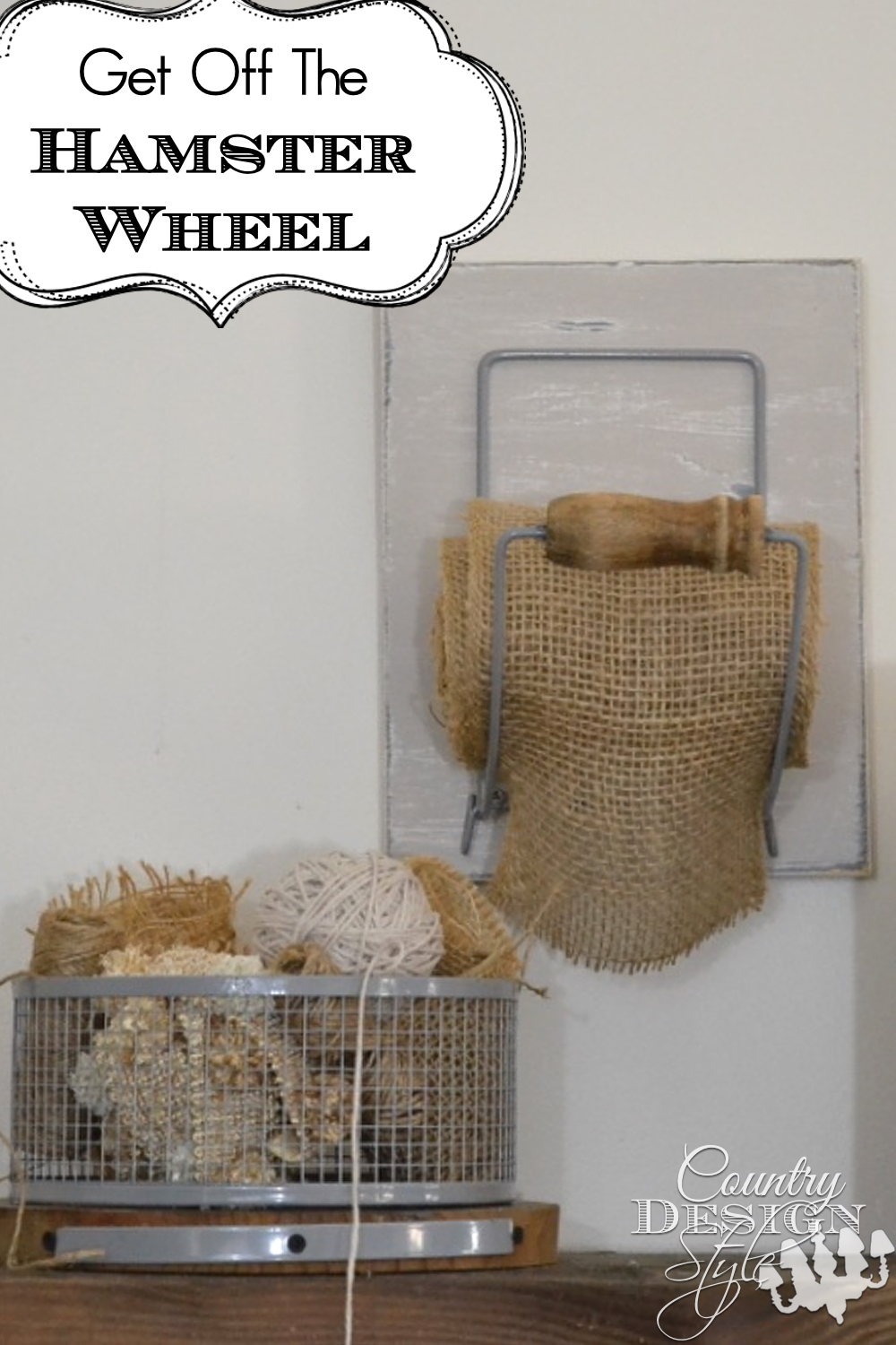 Hamster wheel turns into a wire basket and wheel holder now holds burlap ribbon. Unique DIY project. Country design Style