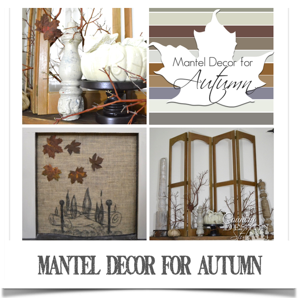 Mantel decor for autumn with burlap old shutters vintage spindles and painted pumpkins www.countrydesignstyle.com