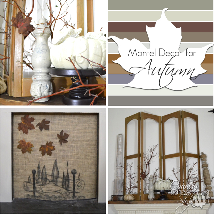 Mantel decor for fall using burlap old shutters rusty leaves and painted pumpkins www.countrydesignstyle.com