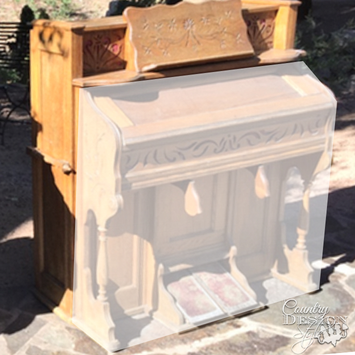 Organ makeover into faux mantel with tutorial for piano keys.   countrydesignstyle.com