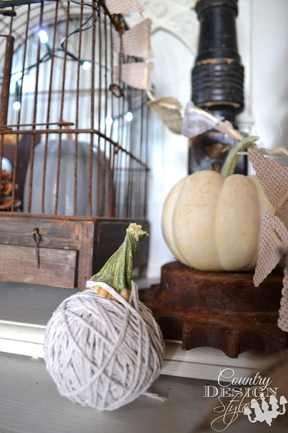 Fall vignette with loads of simple DIY projects. Country Design Style www.countrydesignstyle.com