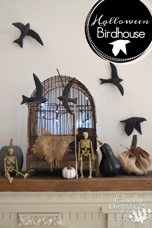 Halloween Birdhouse with holiday lights, pumpkins, black birds, burlap, twine, rusty leaves and burlap pumpkin | countrydesignstyle.com