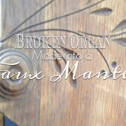 Organ makeover into faux mantel with tutorial for piano keys. | countrydesignstyle.com