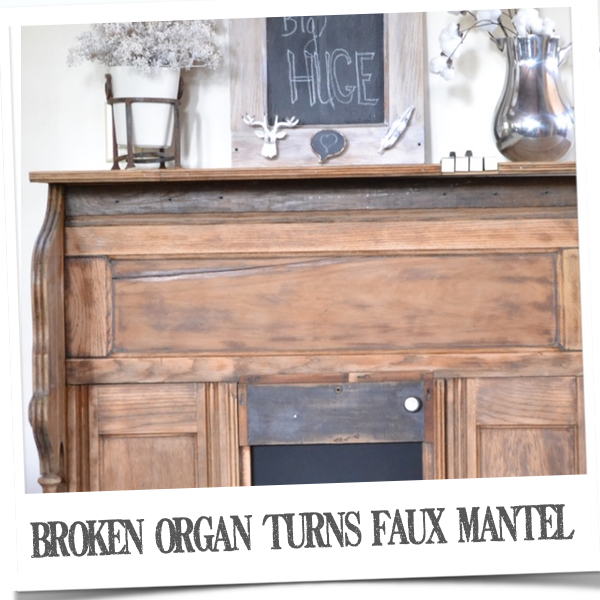Old organ remade into faux mantel | countrydesignstyle.com