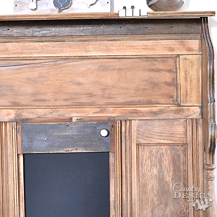 Close up of faux mantel made from old organ pieces | countrydesignstyle.com