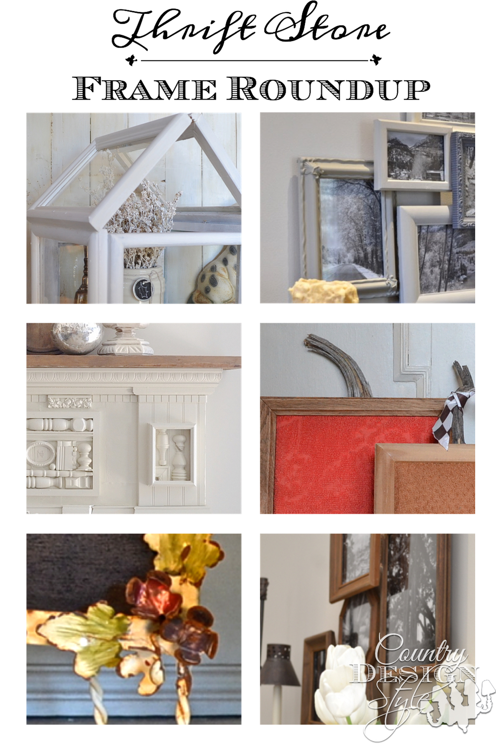 Do you like thrift store frames? Here's my roundup of thrift store frame DIY projects. Country Design Style www.countrydesignstyle.com