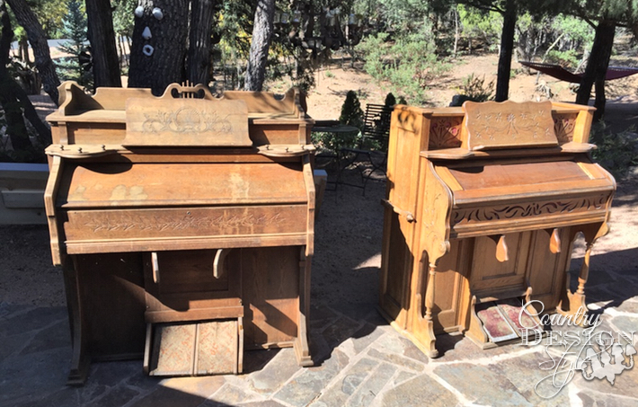 Two old broken organs waiting for makeovers | countrydesignstyle.com