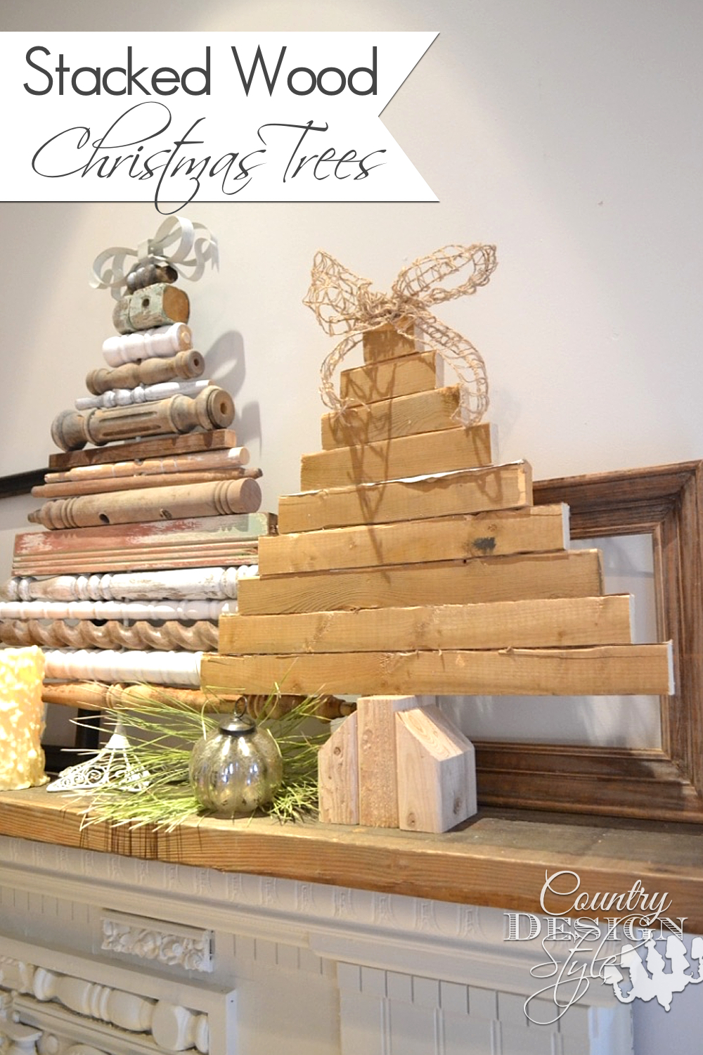 Using scrap wood pieces and spindles to make stacked christmas trees with burlap and metal bows. | countrydesignstyle.com