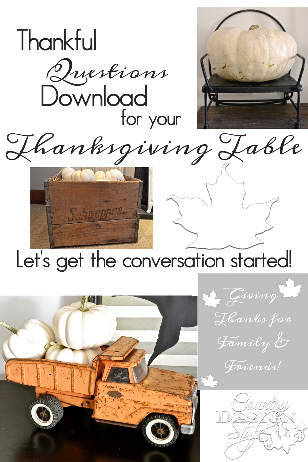 Thankful questions printable download available on the website. Let's get the conversation started! Perfect for all ages. Make them into napkin rings, tuck in a napkin, tie on a Thanksgiving tree | countrydesignstyle.com