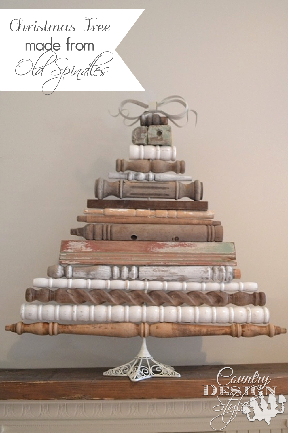 vintage style christmas tree made from old spindles countrydesignstylecom - Country Style Christmas Decorations