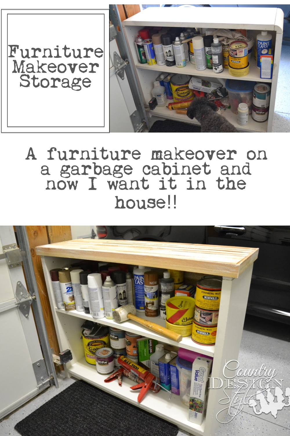 Furniture makeover of garage storage cabinet with added easy planking and fresh coat of paint. Dry brushing on planking. | countrydesignstyle.com