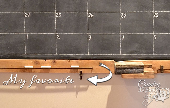 My favorite part of my extra large chalkboard calendar with junk added to the frame. Free plan download. | countrydesignstyle.com