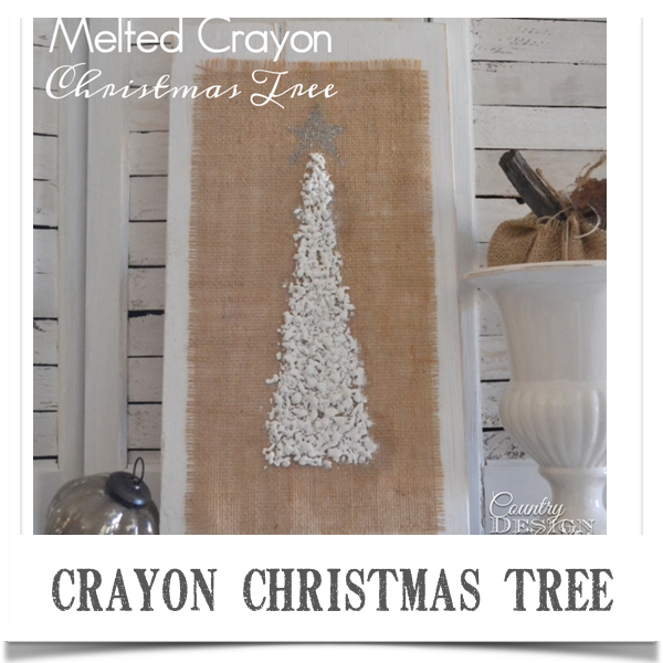 Melted crayon Christmas Tree DIY on burlap with glitter star mounted on chalky painted board with distressed edges. | countrydesignstyle.com