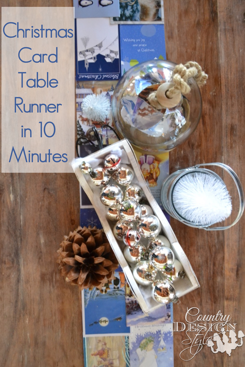 Christmas Card Table Runner in 10 Minutes | Country Design Style | countrydesignstyle.com