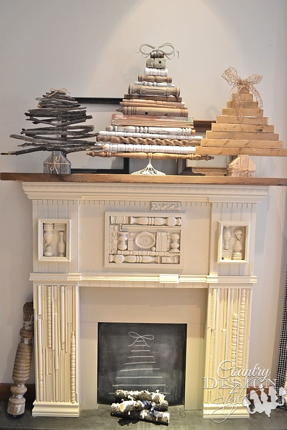 How to decorate a diy faux fireplace country design style for Artificial logs for decoration