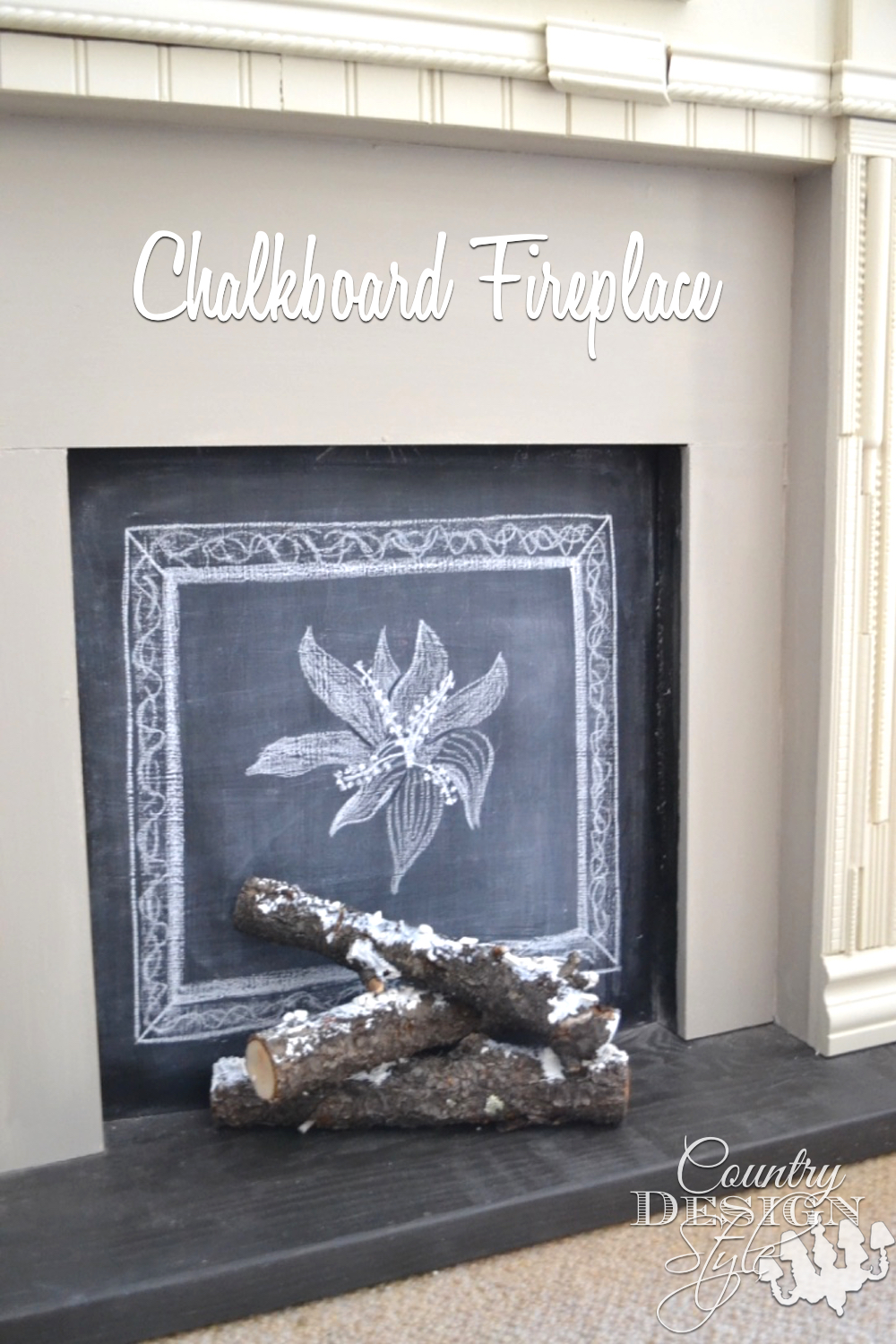 Framed plates and chalkboard fireplace | Country Design Style | countrydesignstyle.com