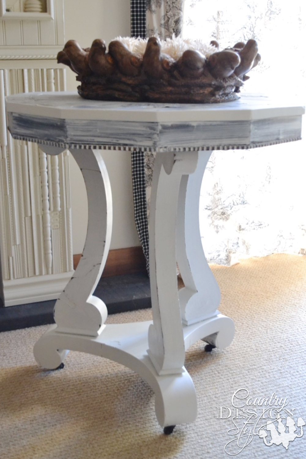 Furniture Makeover Shades of White Table | Country Design Style | countrydesignstyle.com