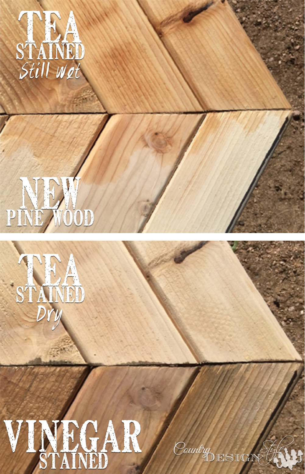 Garden Bench Aged Instantly with Tea and Vinegar | Country Design Style | countrydesignstyle.com