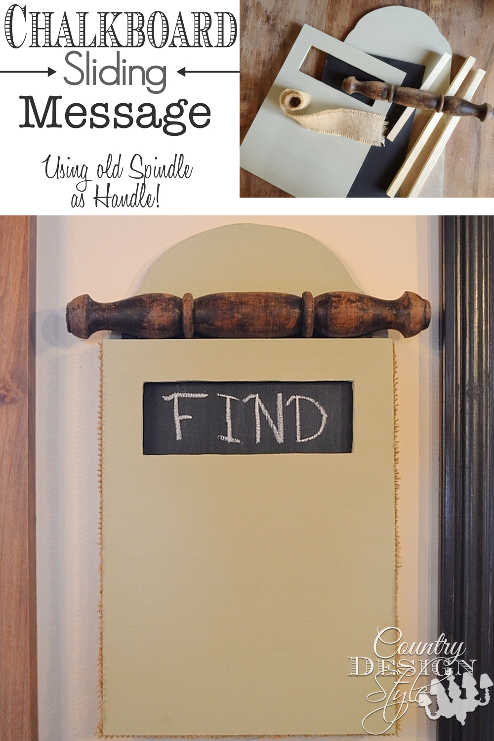 Sliding Message Chalkboard PN | Country Design Style | countrydesignstyle.com
