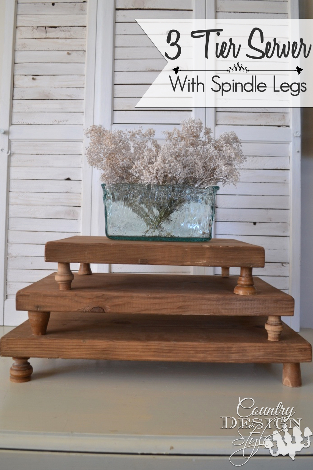3 Tier Server with Spindle Legs | Country Design Style | countrydesignstyle.com