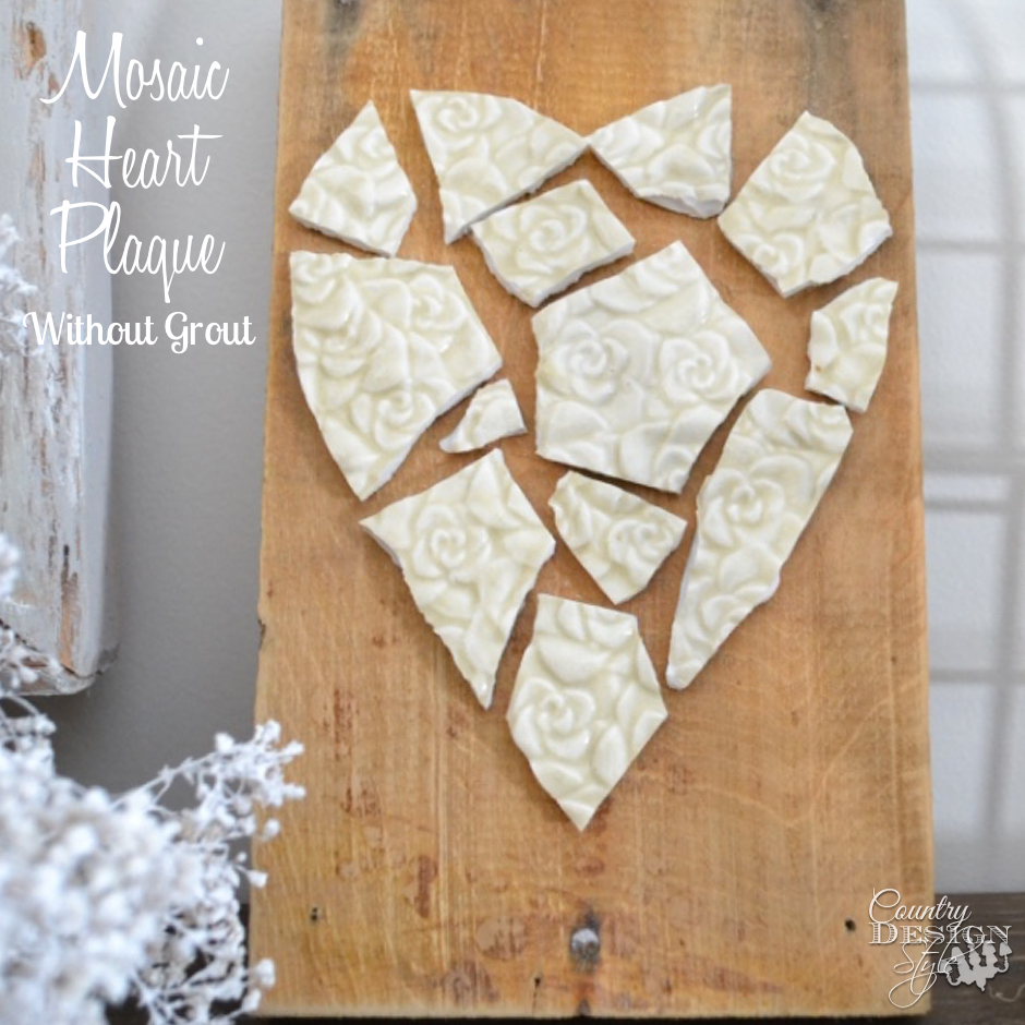 Finished Mosaic Heart Plaque | Country Design Style | countrydesignstyle.com