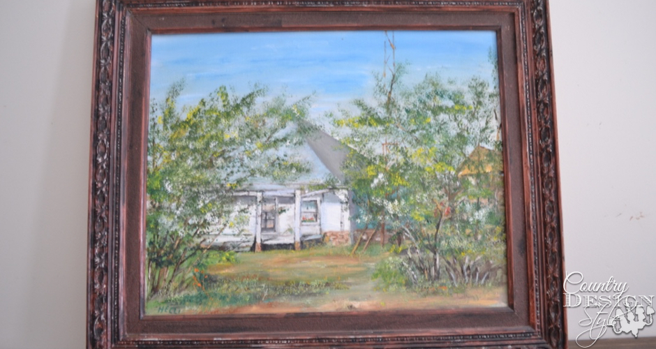 Old farmhouse painting in old frame   Country Design Style   countrydesignstyle.com