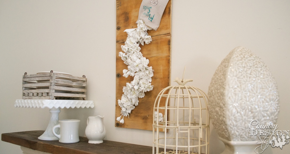 Falling Flowers Spring Sign Over Mantel | Country Design Style | countrydesignstyle.com