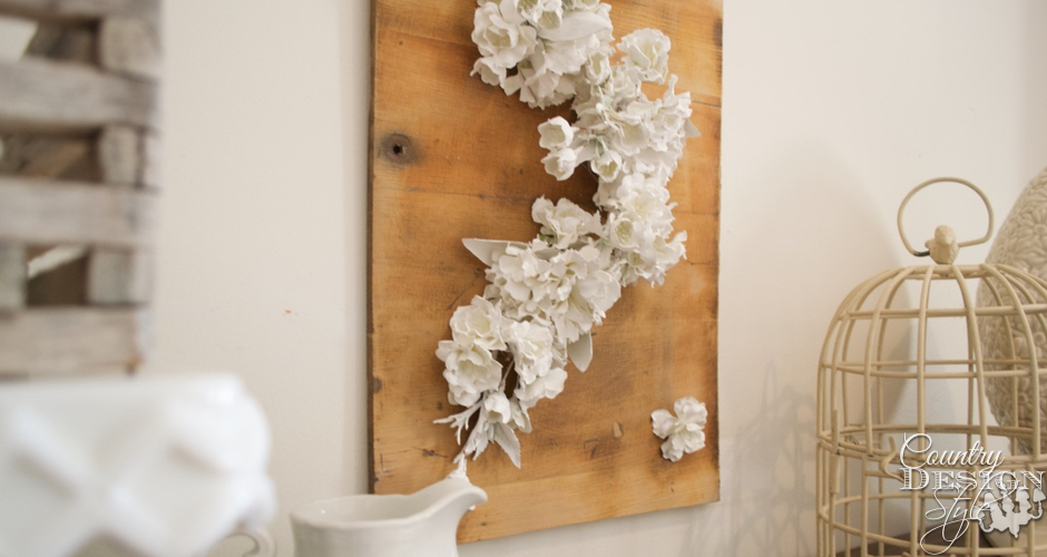 Falling Flowers Spring Sign on Mantel | Country Design Style | countrydesignstyle.com