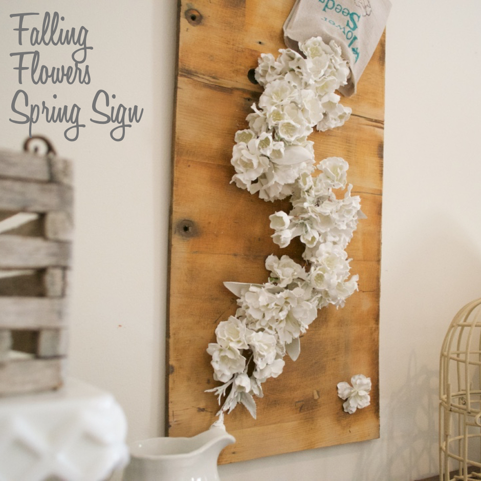 Falling Flowers Spring Sign square | Country Design Style | countrydesignstyle.com