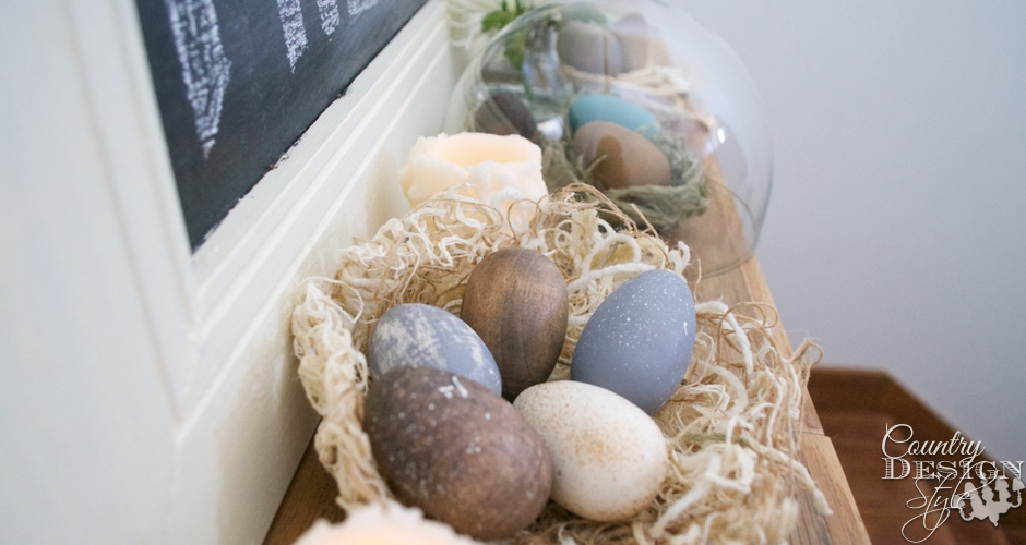Fresh eggs chalkboard on Easter Mantel | Country Design Style | countrydesignstyle.com