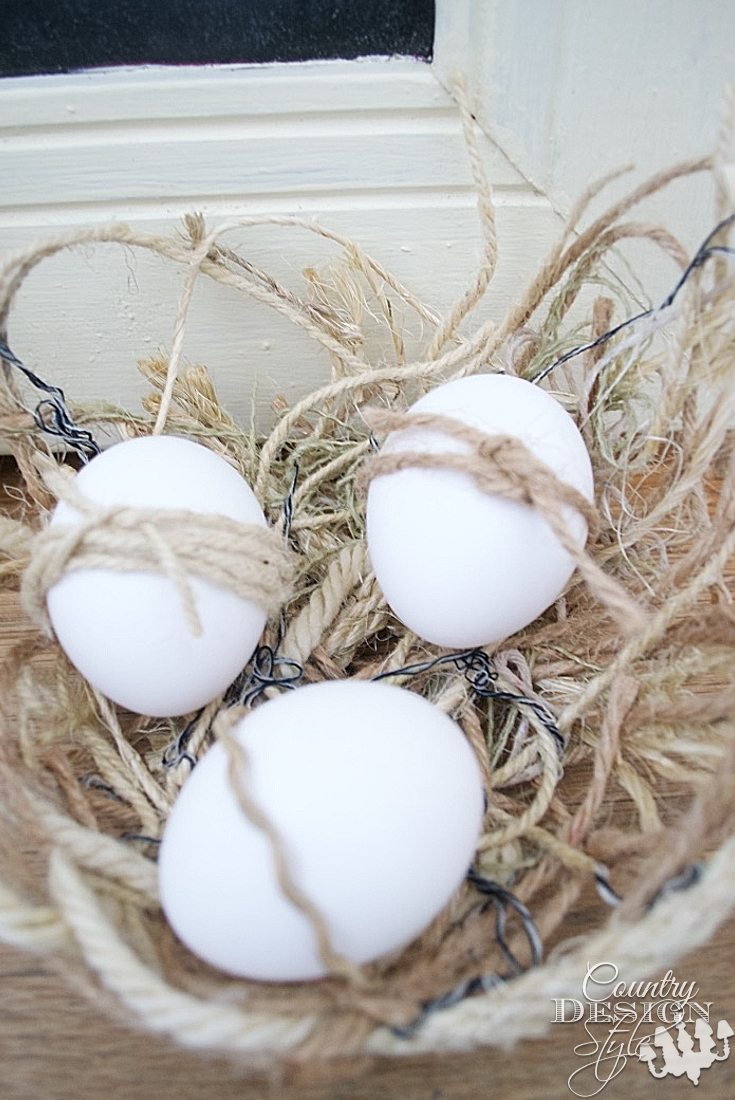 Twine Nest and twine wrapped eggs | Country Design Style | countrydesignstyle.com